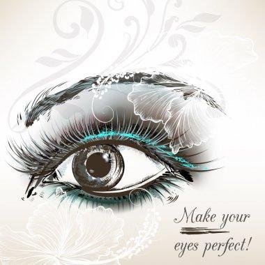 Beautiful vector hand drawn female eye for design