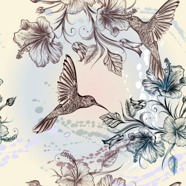Vector seamless wallpaper pattern with birds and flowers