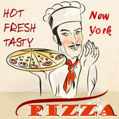 Pizza poster with waiter or cook holding hot fresh New York pizz