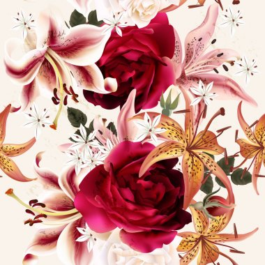 Beautiful seamless floral pattern with roses in watercolor style