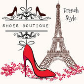 Photo Cute illustration shoes boutique red shoe hang on a banner, Eiff