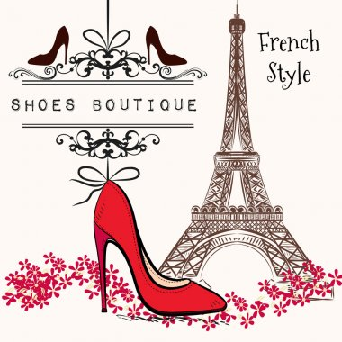 Cute illustration shoes boutique red shoe hang on a banner, Eiff