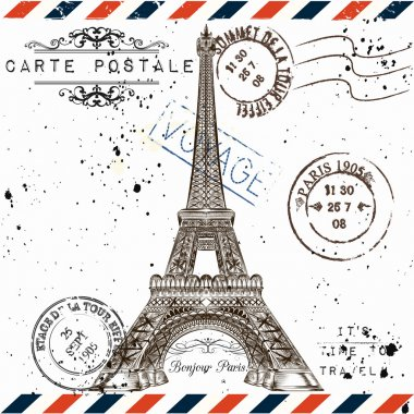 3)	Bonjour Paris. Imitation of vintage post card with Eiffel tow