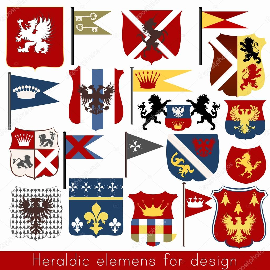 Vector set of vintage heraldic elements for design