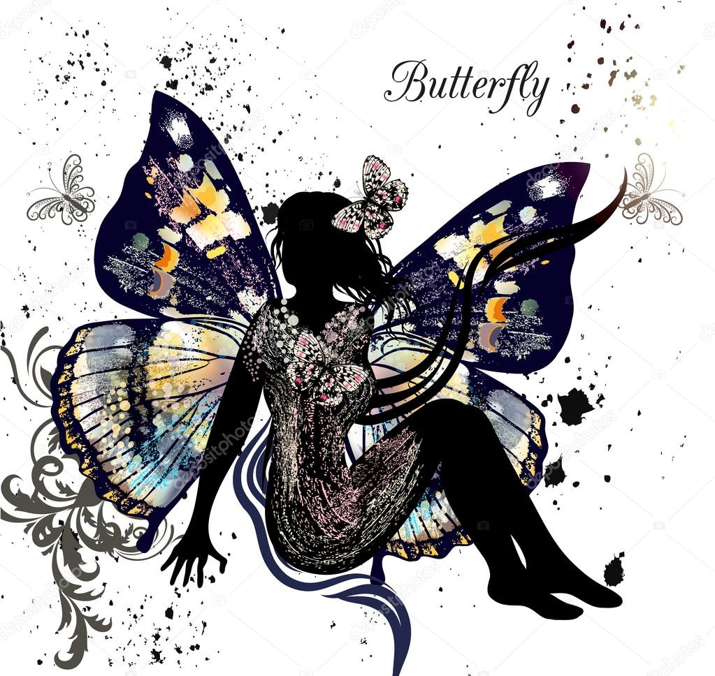 Illustration with floral fairy sit in environment of butterflies
