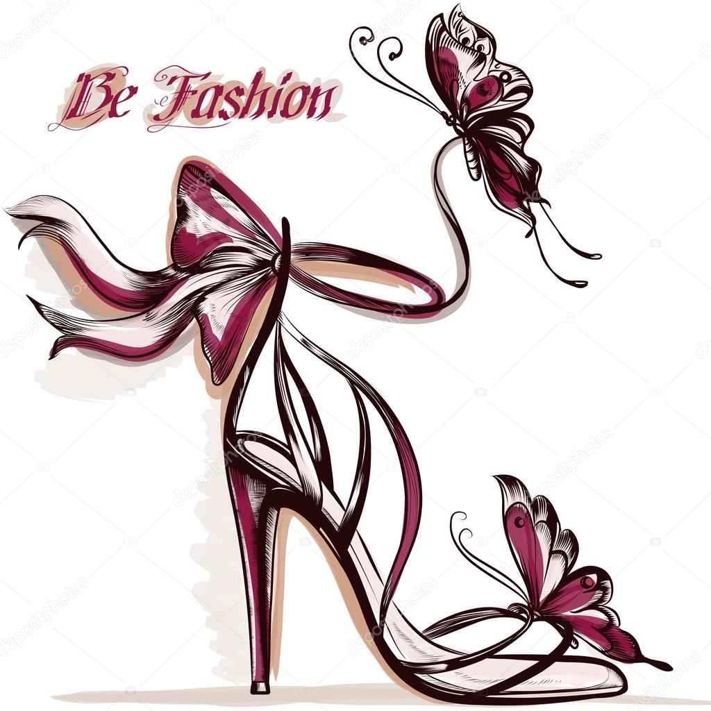 Fashion illustration with elegant female sandals with high heel
