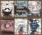 Fotografie Sammlung von Jahrgang kreative Karten mit Hand skizzierten hipster
