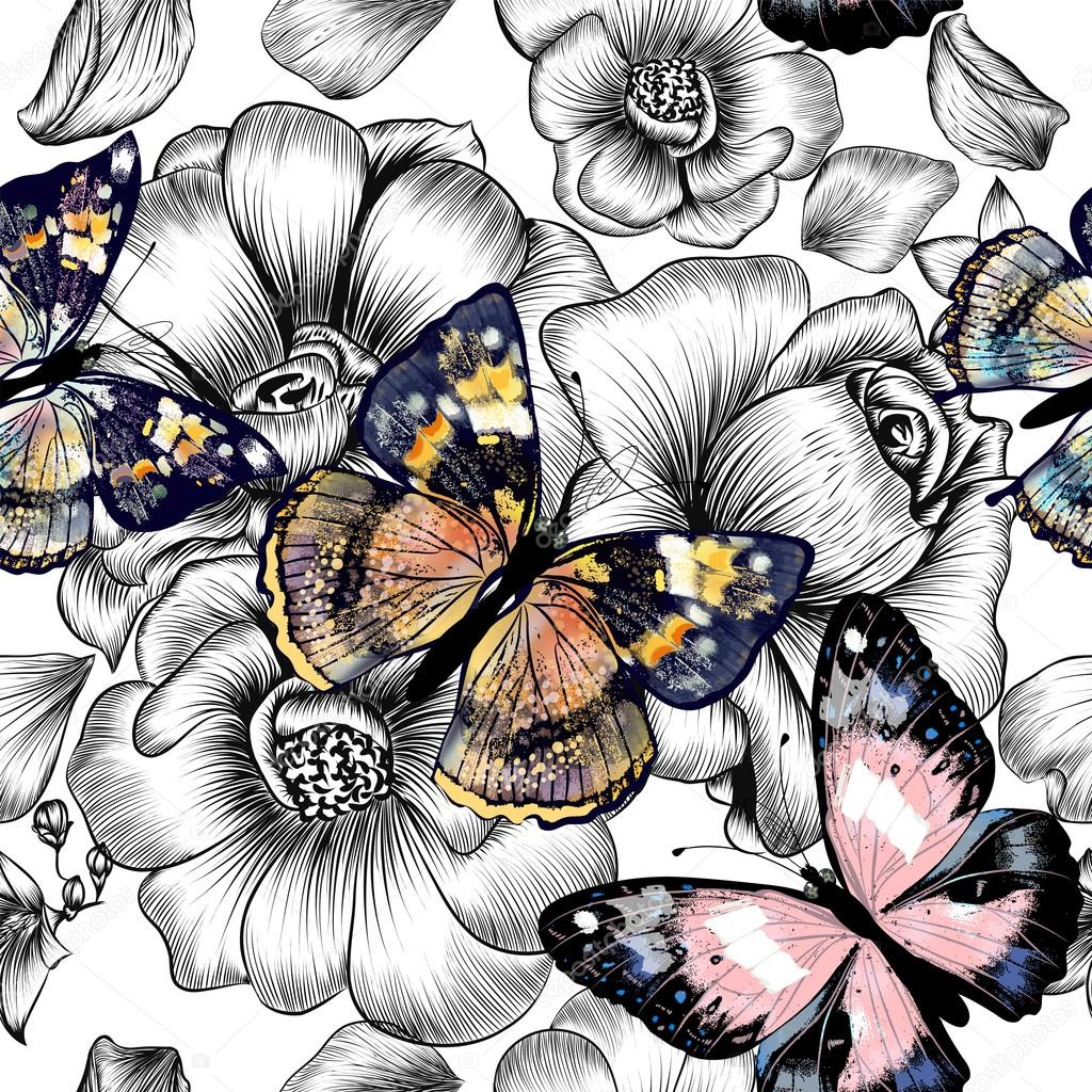 Vector seamless wallpaper pattern with vintage butterflies and r