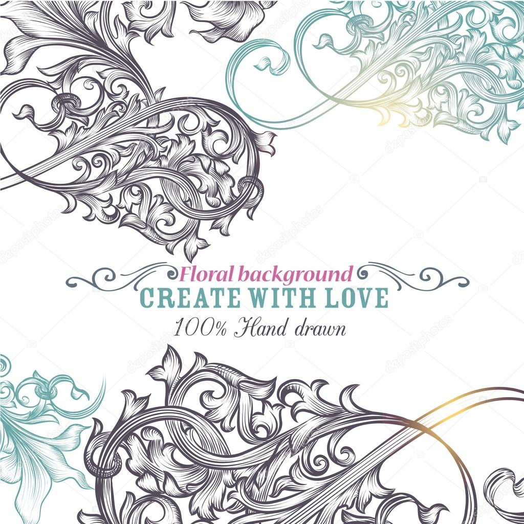 retro ornamental vector background with engraved ornaments stock