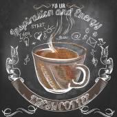 Kávy vektor plakát s ručně tažené hrnek na kávu