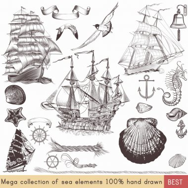 Collection of vector nautical elements on theme of sea