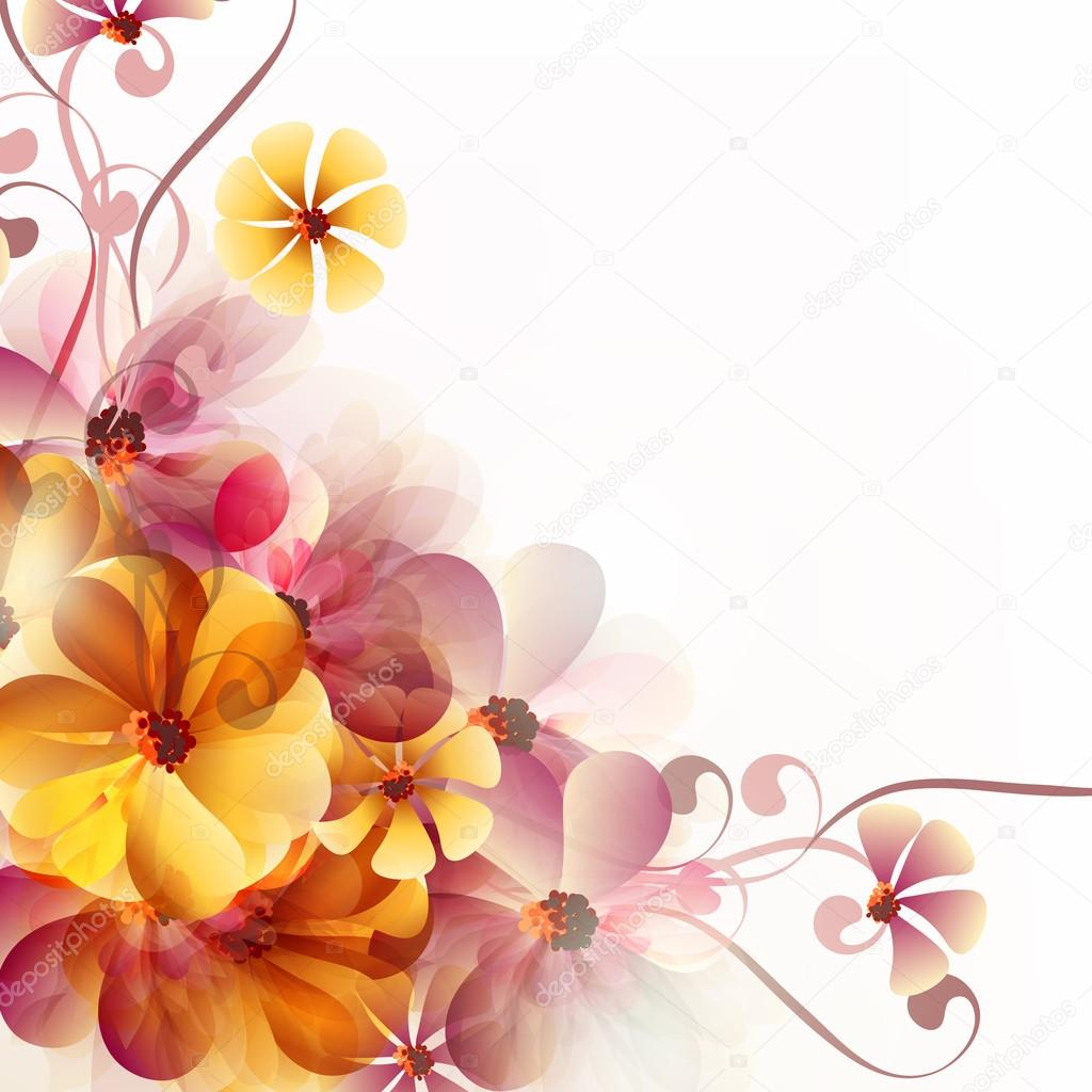 Abstract floral background with flowers and space for text