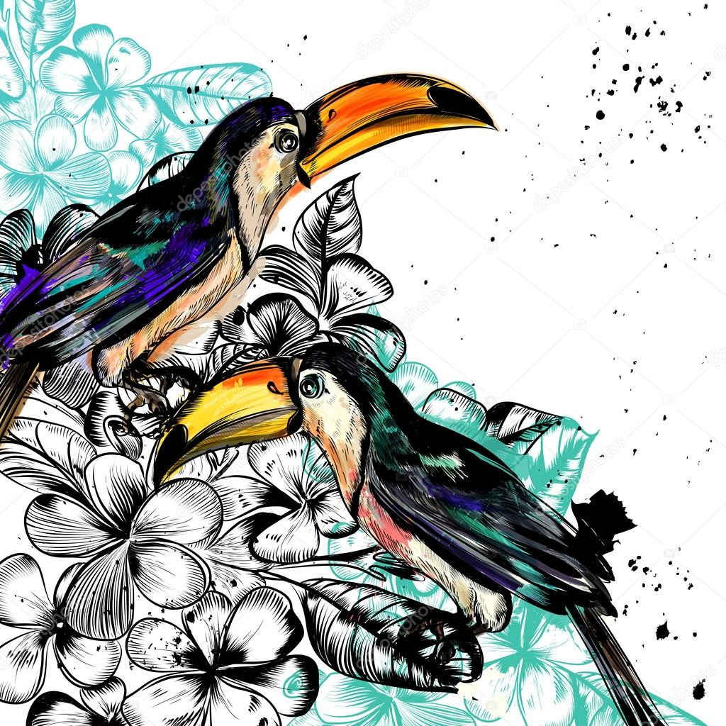 Background with tropical flowers and toucan birds in engraved an