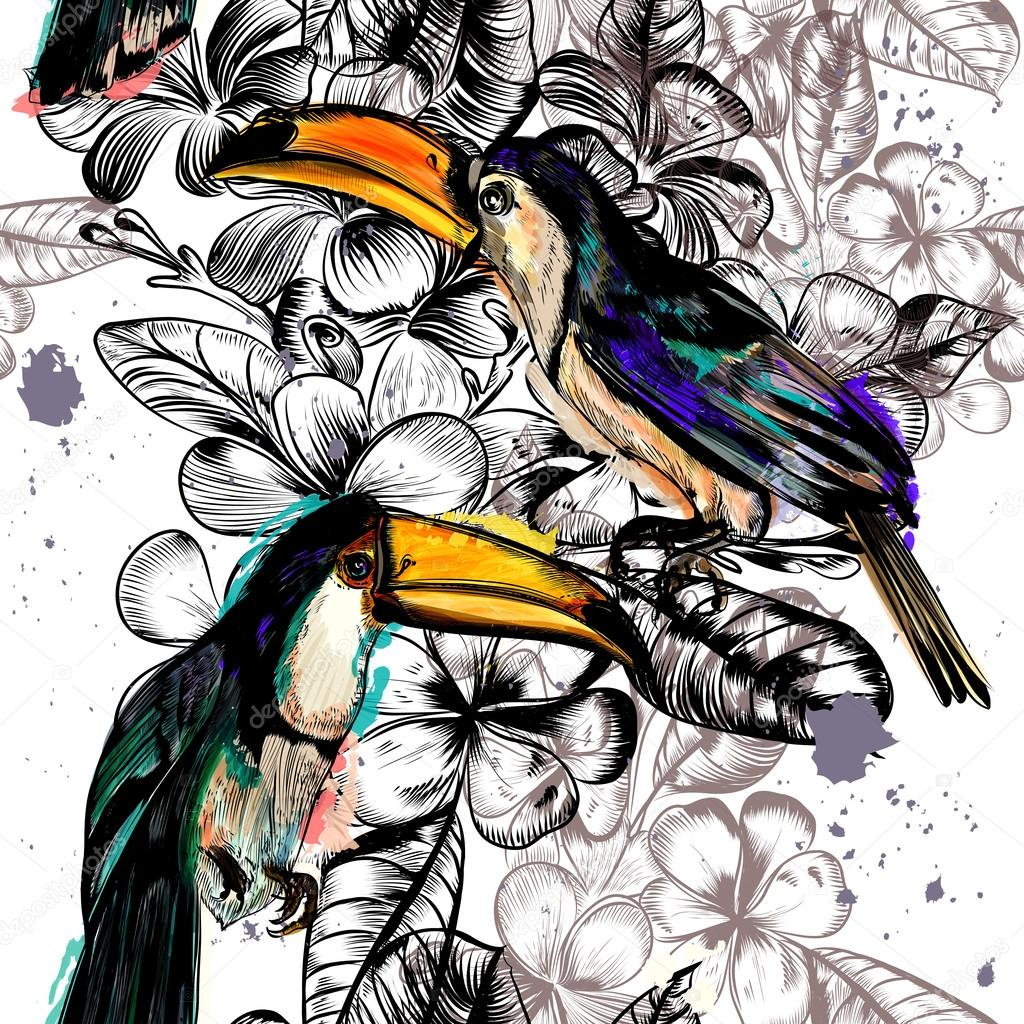 Seamless wallpaper pattern with tropical flowers and toucan bird