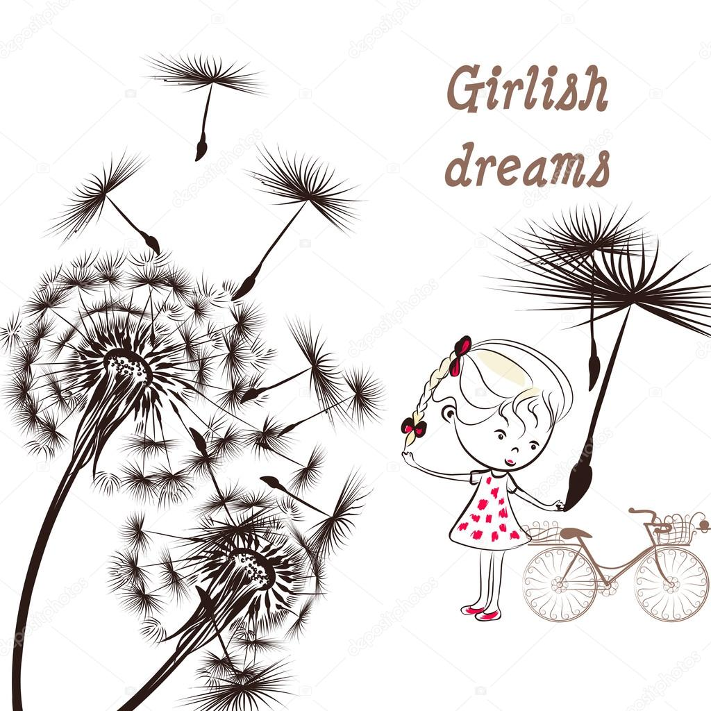 3)	Background with dandelion, bicycle and little girl girlish dr