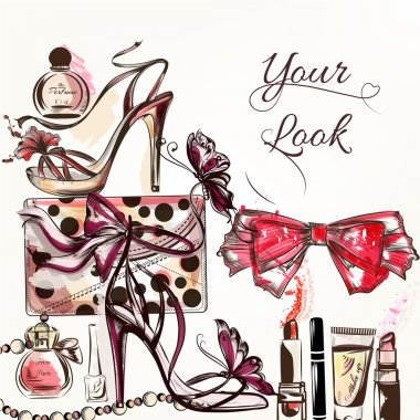 Beauty and fashion vector watercolor background with cosmetics m