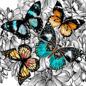 Photo Vector seamless wallpaper pattern with vintage butterflies and f