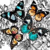 Vector seamless wallpaper pattern with vintage butterflies and f
