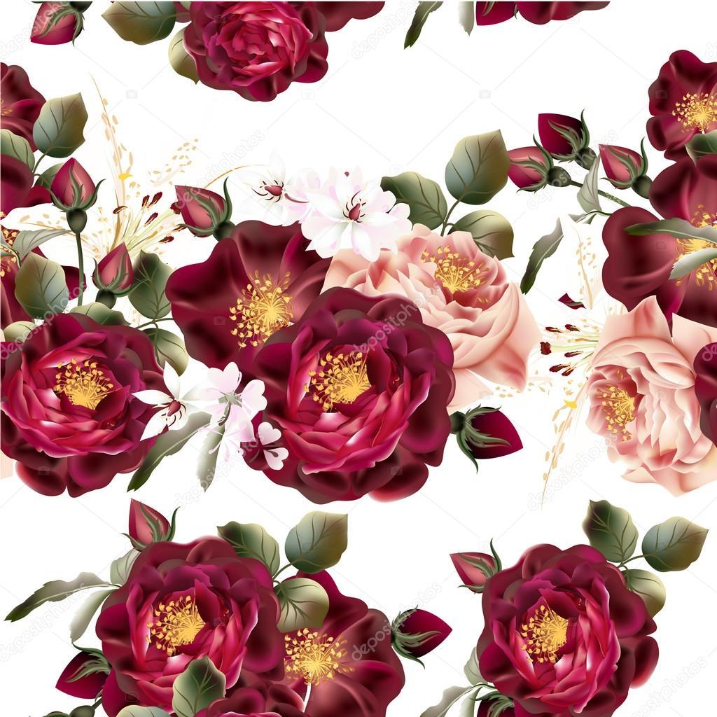 Fondo Rosas Png Patron De Fondo Transparente Con Rosas Vector