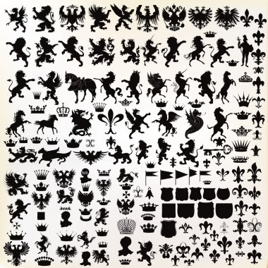 Mega set or collection of vector high quality shapes for heraldic projects clip art vector