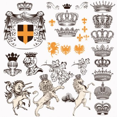 Collection or set of vintage styled heraldic elements horses unicorn lion shields crowns and other