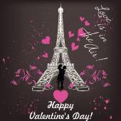 Valentines day card with Eiffel tower and hearts