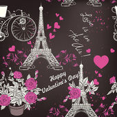 Fotografie Beautiful seamless vector wallpaper pattern with Eifel tower and