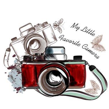 Cute hand drawn vintage camera vector illustration