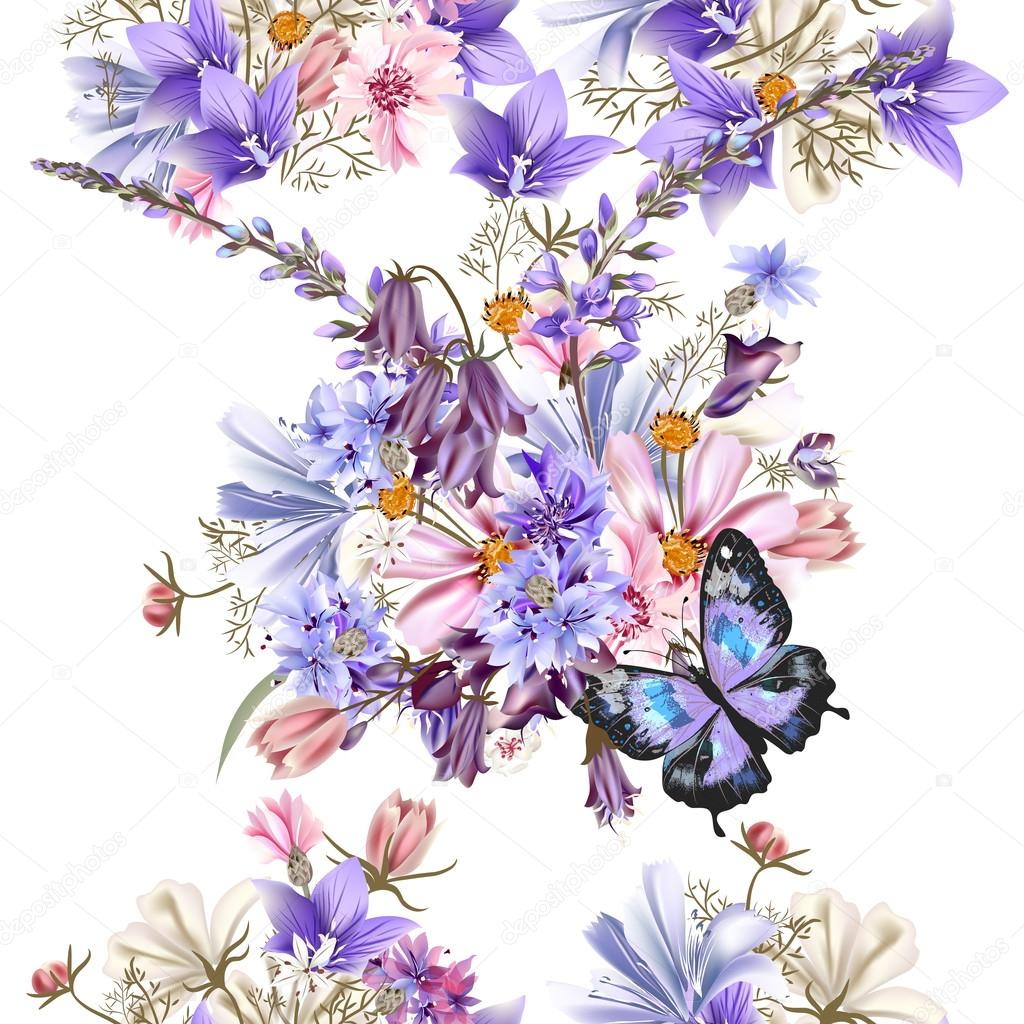 Floral seamless vector pattern with flowers in watercolor style