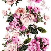 Fotografia modello senza saldatura vettoriale per il design della carta da parati con fiori di peonia