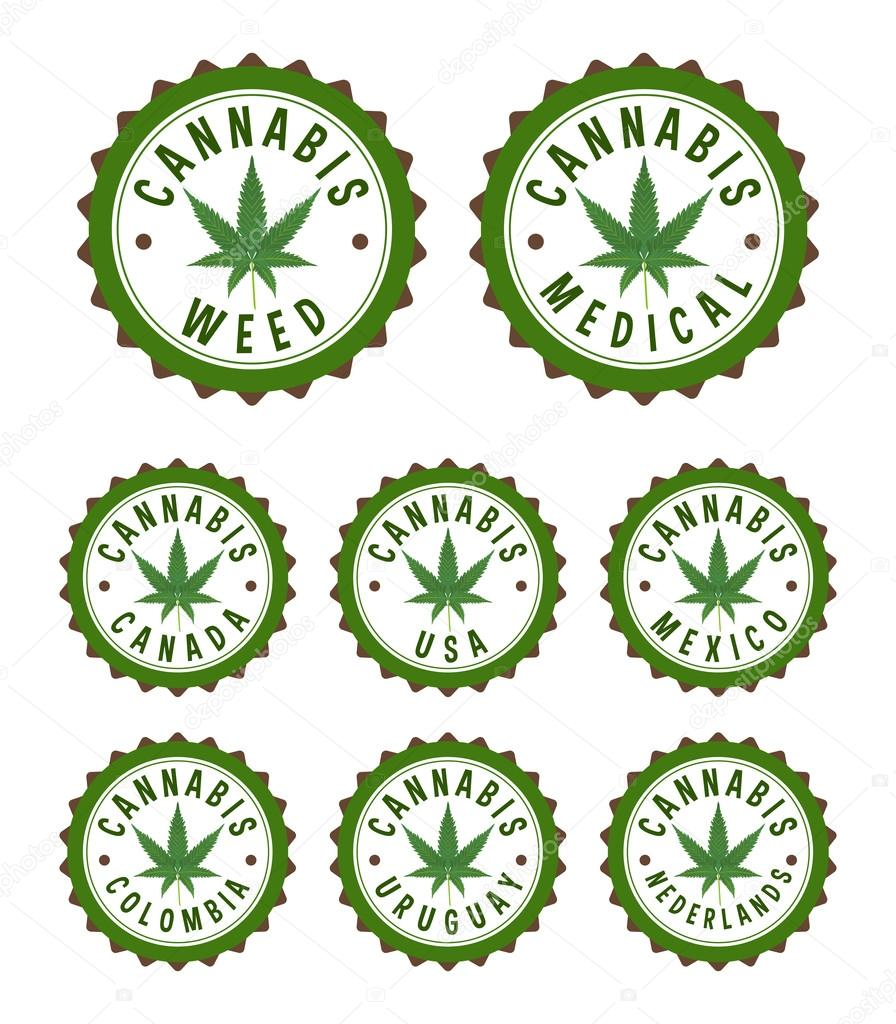 Cannabis stamps with countries