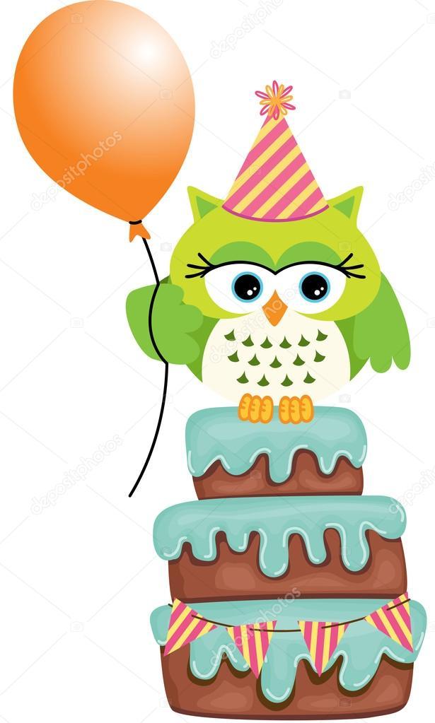 Cool Cake Van De Kindverjaardag Uil Stockvector C Socris79 53406199 Birthday Cards Printable Opercafe Filternl