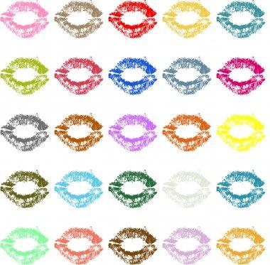 Lipstick kiss mark colored