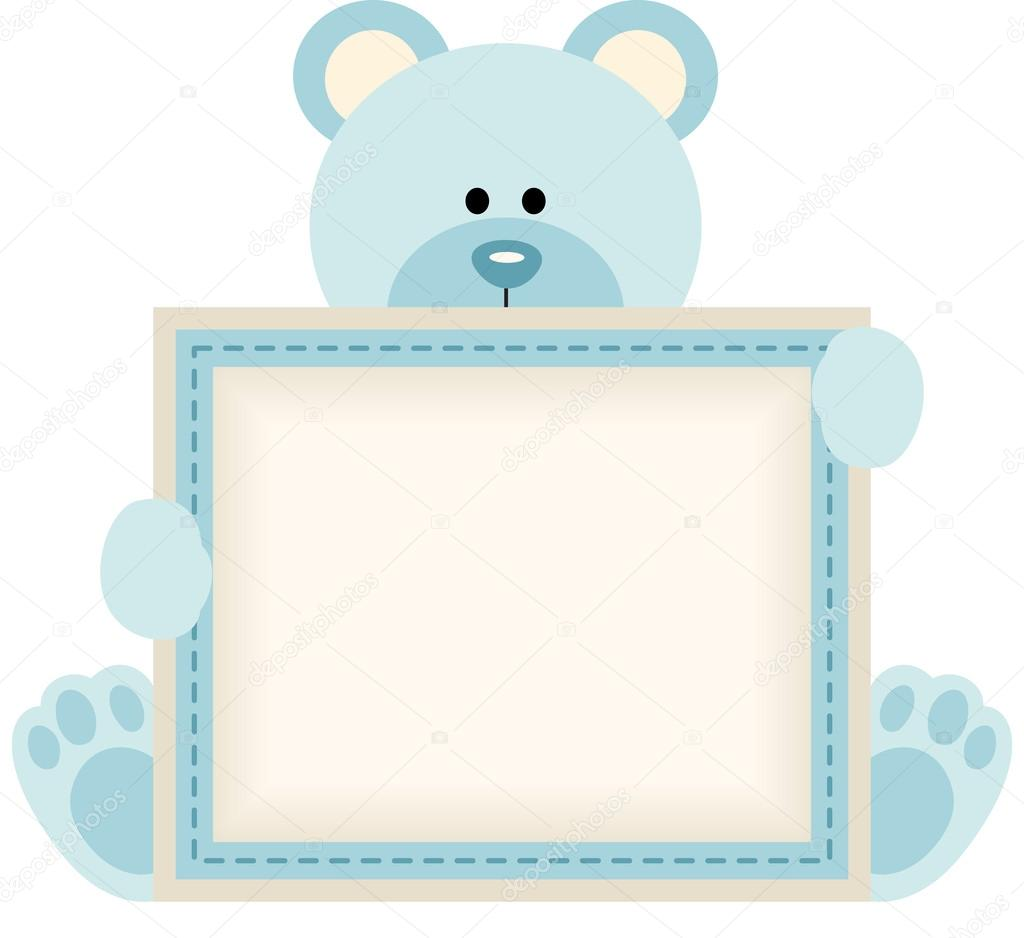cute teddy bear holding blank sign for baby boy announcement stock