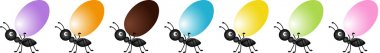 Ants on the march to deliver easter eggs