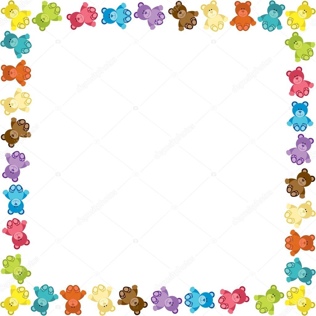 Marco de osito de peluche color — Vector de stock © socris79 #68392485