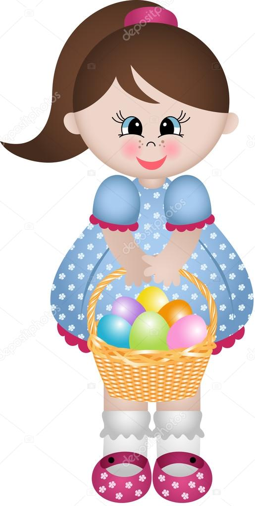 Cute little girl holding basket with easter eggs stock vector cute little girl holding basket with easter eggs stock vector negle Image collections