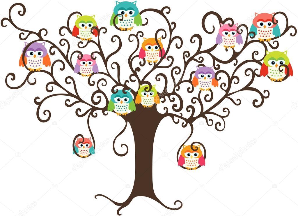 Corujas Coloridas Na árvore Bonita