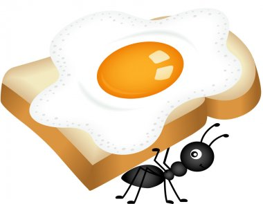 Ant carrying sandwich from fried egg