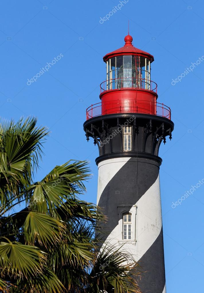 The St. Augustine Lighthouse, with it's distinctive black and white spiral topped with a red lantern room, towers above the palms of Florida's Atlantic Coast.