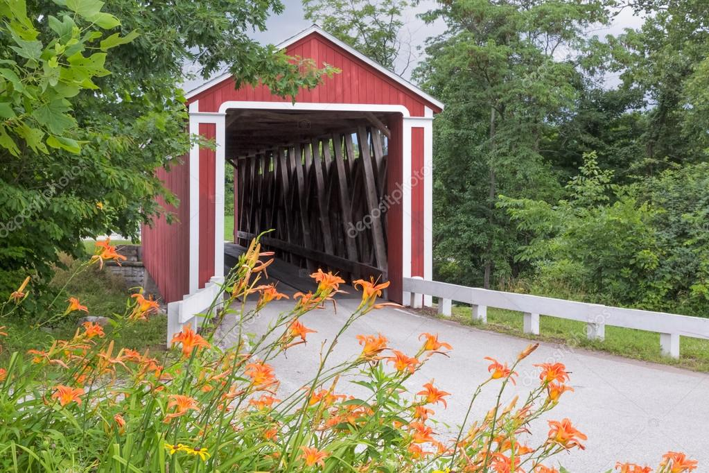 Roadside Lilies and Covered Bridge