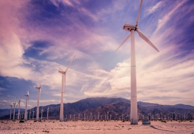 Renewable sustainable clean natural energy power from wind turbines, Palm Springs,CA stock vector