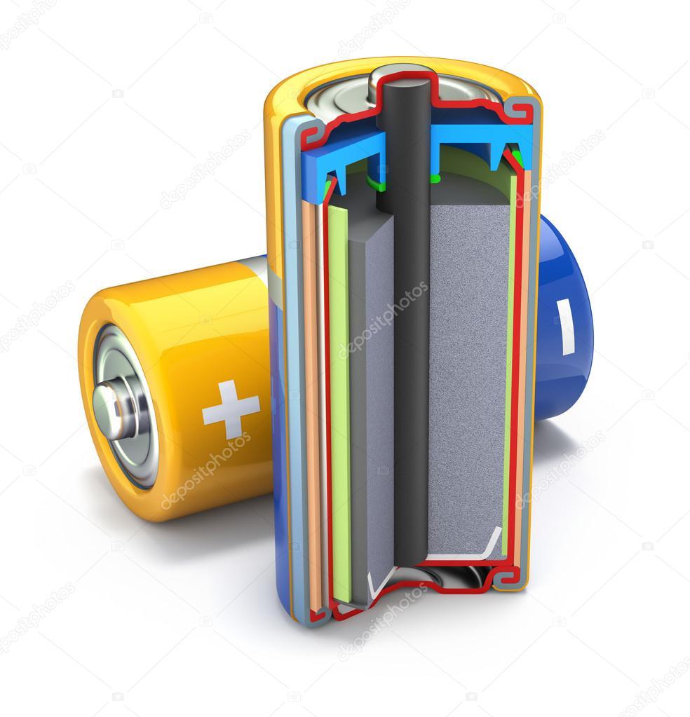 截面的普通干电池 — 图库照片©mipan#121023424