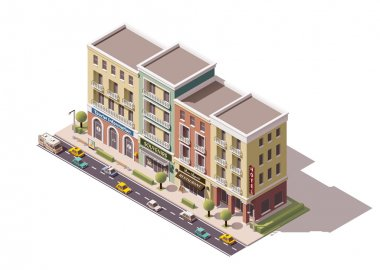 Vector isometric town street