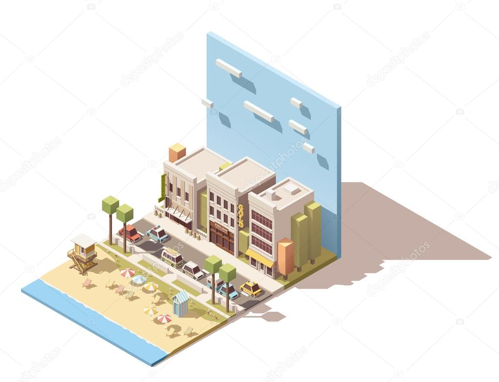 Vector isometric town beach
