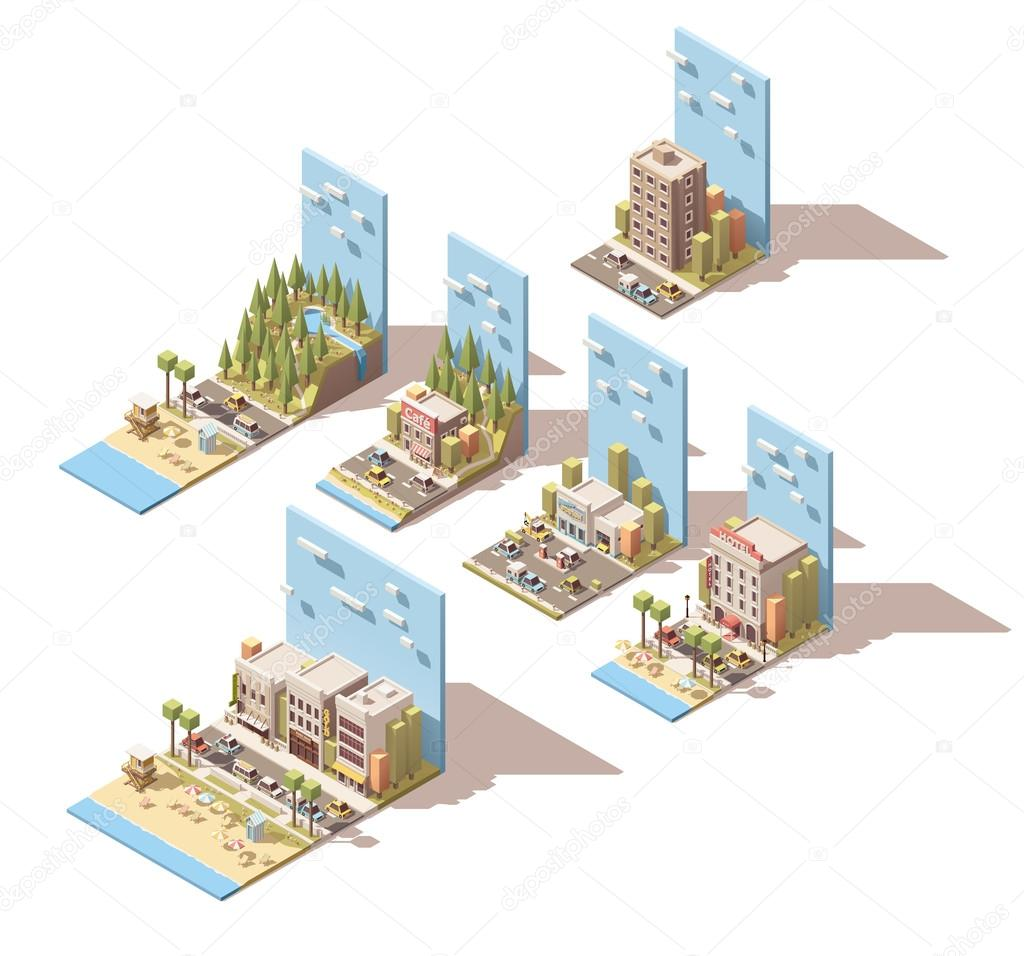 Vector isometric car travel illustrations