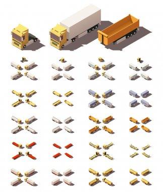 Vector isometric trucks with semi-trailers icon set