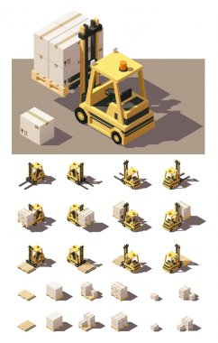 Vector isometric forklift with crates and pallets icon set