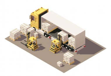 Vector isometric forklift loading box semi-trailer truck with crates on pallets icon