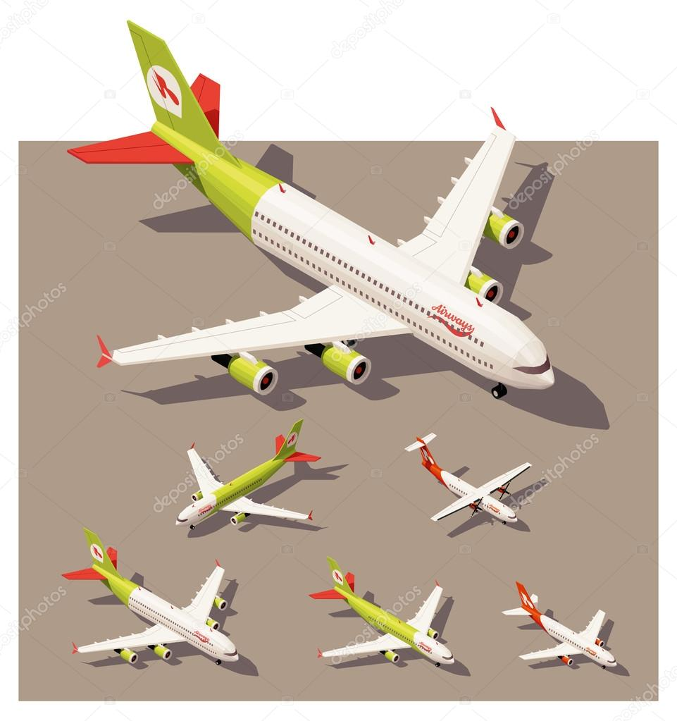 Vector isometric low poly airplanes set